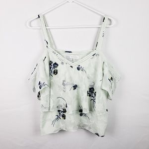 Lucky Brand Crop Top Size L Floral Boho #279